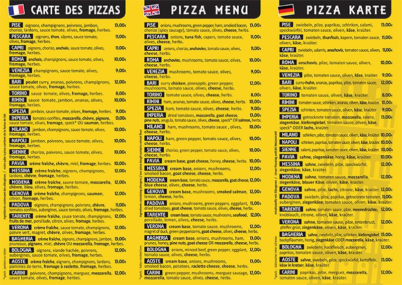 carte des pizzas pise