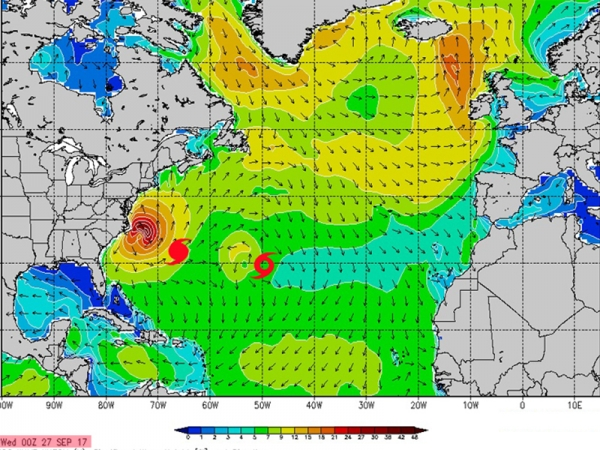 Cyclones Maria et Lee - Swell du 03 au 06 octobre