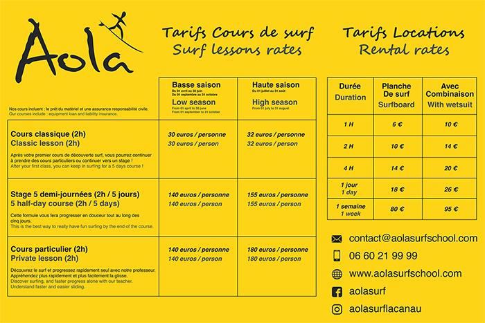 tarifs aola surf school 2018