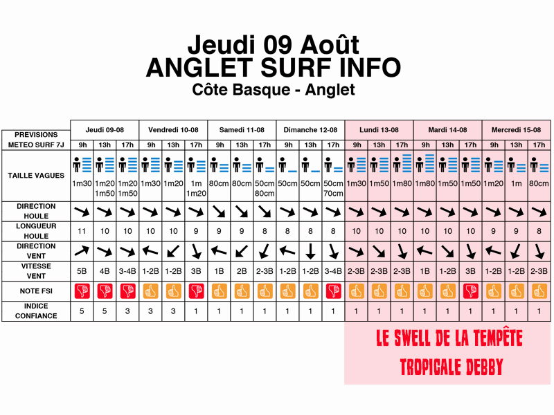 tempête tropicale debby swell houle