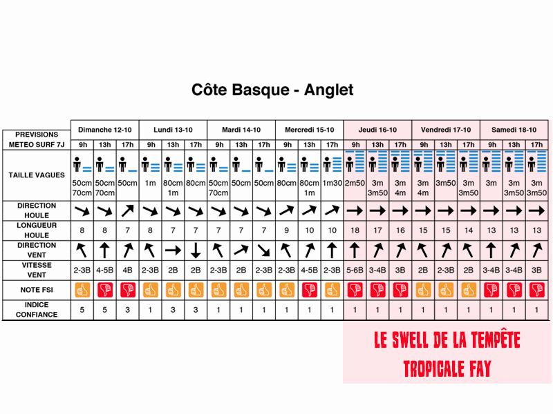 Les prévisions de la houle de la tempête tropicale FAY pour anglet