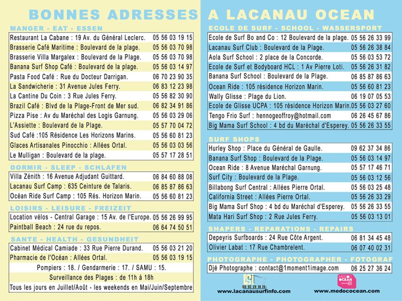 bonnes adresses lacanau surf info 2013