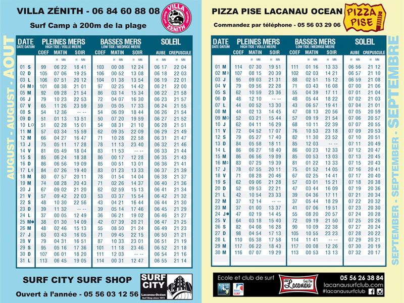 guide des marées lacanau surf info 2015