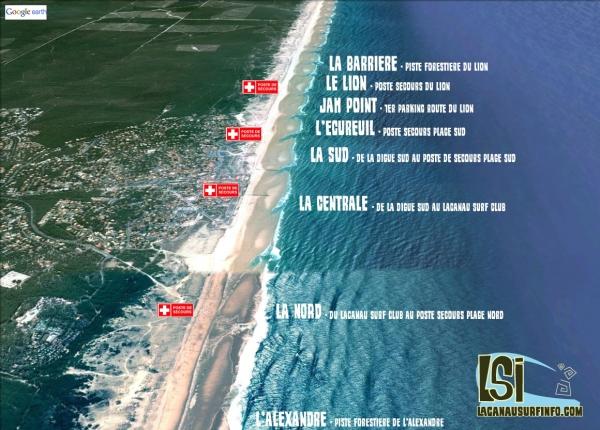 noms spots de surf lacanau